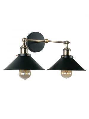 Colonial Antique Brass Twin LED Wall Light