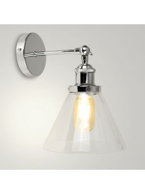 Lloyd Chrome Wall Light With Conical Glass Shade