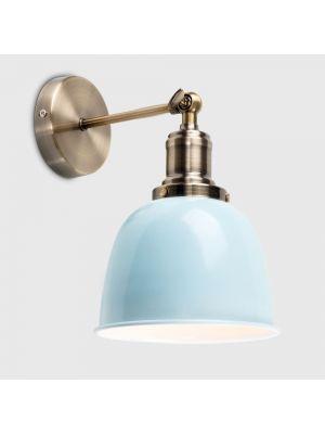 Wilhelm Antique Brass Style Wall Light Duck Egg Blue Metal Shade