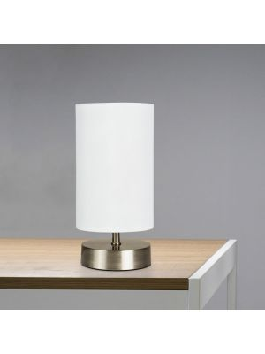 Francis Satin Nickel Touch Table Lamp With White Shade