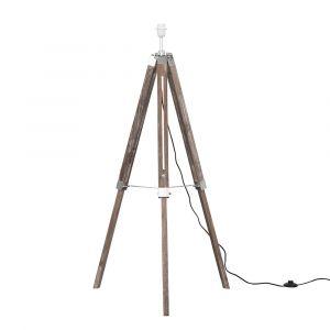 Clipper Light Wood/Chrome Tripod Floor Lamp (NO SHADE)