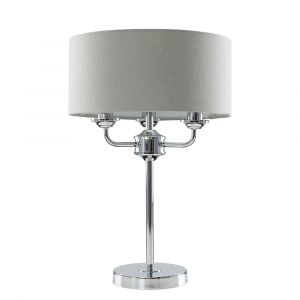 Rocha 3 Way Chrome Table Lamp with Linen Grey Drum Shade