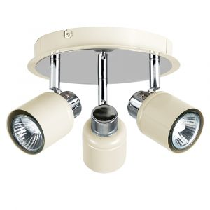 Benton 3 Way Round Plate Spotlight Gloss Cream / Chrome