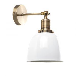 Wilhelm Antique Brass Style Wall Light White Metal Shade