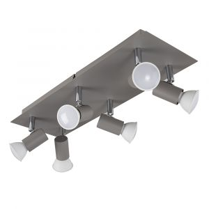 Cement / Chrome 6 Way Square Plate Spotlight