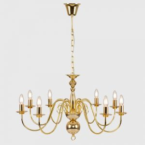 Gothica Flemish Style Gold Effect 8 Way Ceiling Light