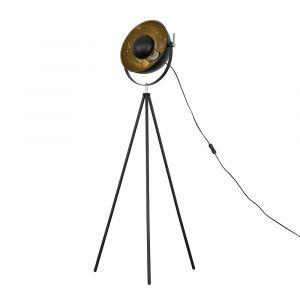 Morpho Black Tripod Floor Lamp with Gold Inner Shade