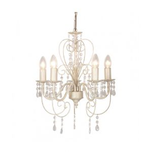 Lille 5 Way Distressed White Ceiling Light