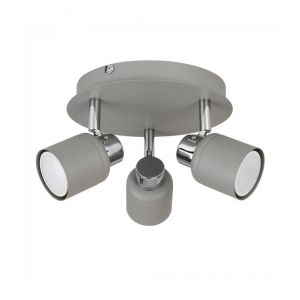 Benton 3 Way Round Plate Spotlight Cement/Chrome