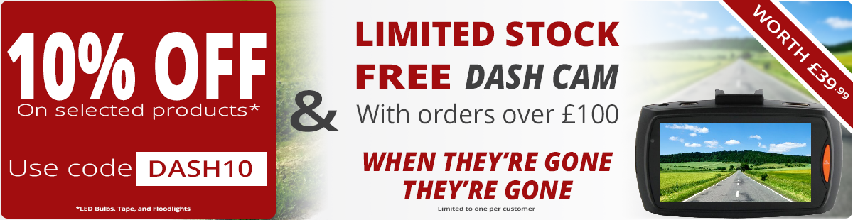 March - Limited Time DASH10 Promo LED Discount Code Plus Free HD Portable Dash Cam on Orders Over £100